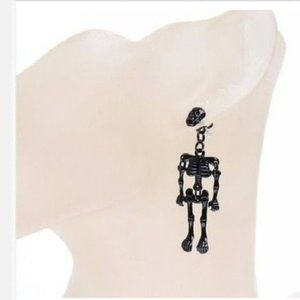 Black Skeleton Earrings Halloween Fashion Costume